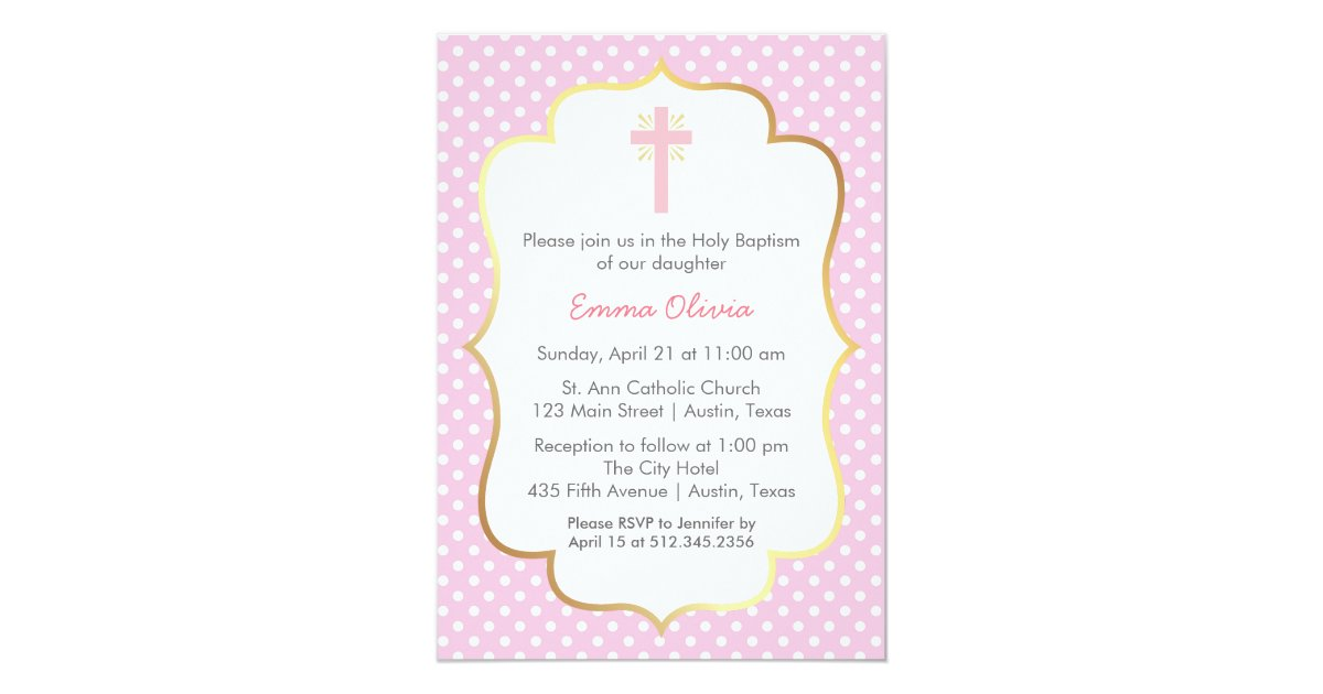 Pink Polka Dot Baptism With Cross And Gold Border Card