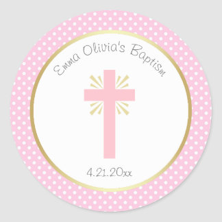 Pink Polka Dot Baptism with Cross and Gold Border Classic Round Sticker
