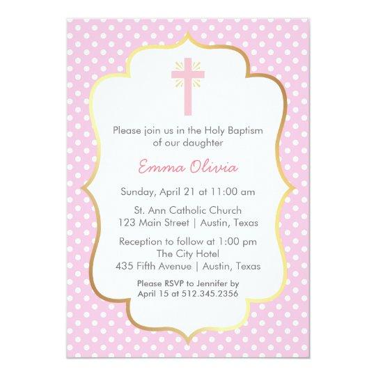 Pink Polka Dot Baptism With Cross And Gold Border Invitation