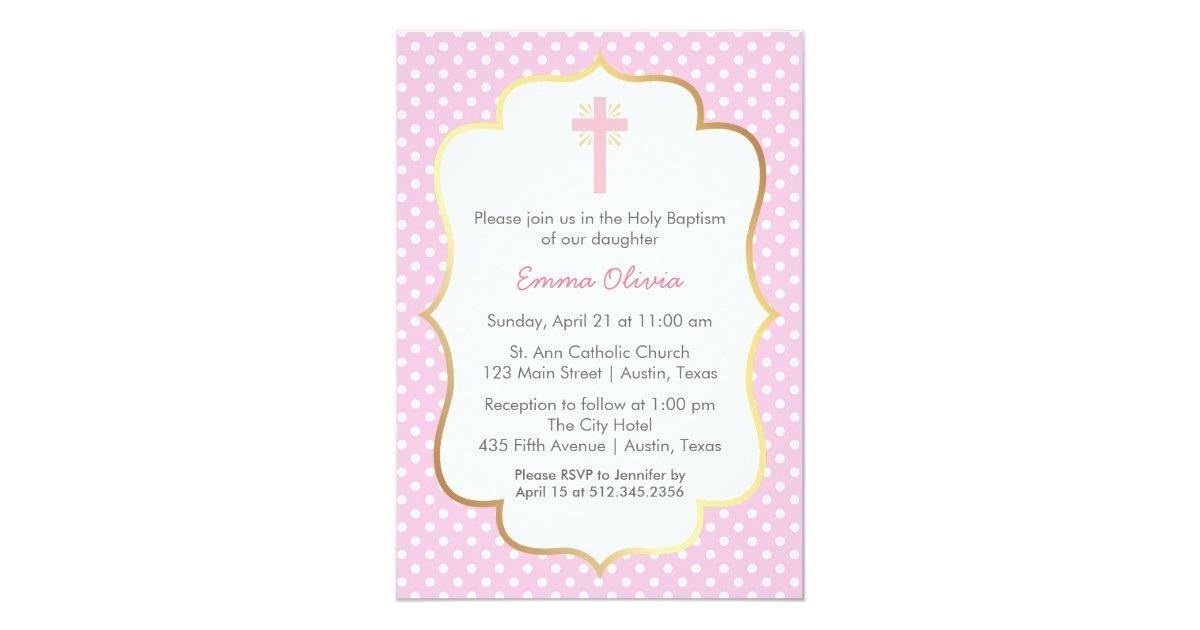 Pink Polka Dot Baptism With Cross And Gold Border