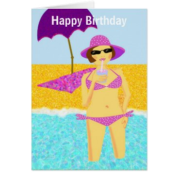 Beach Themed Pink polka dot bikini beach birthday girl card
