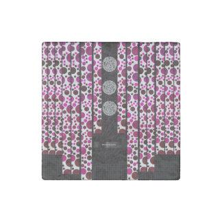 Pink Polka-dot Bling Stone Magnet