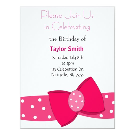 Pink Polka Dot Bow Birthday Invitation