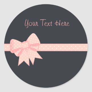 Pink Polka Dot Bow Sitckers Classic Round Sticker