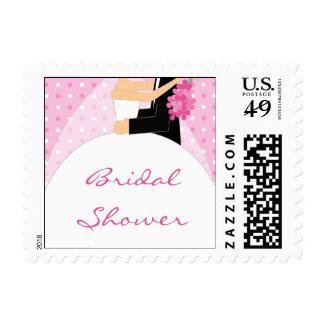 Pink Polka Dot Bridal Shower postage stamps