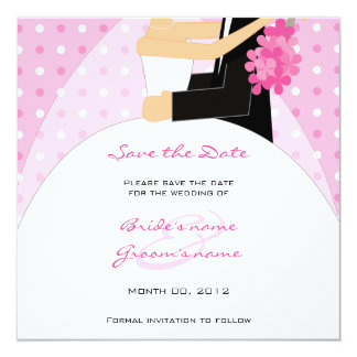 Pink Polka Dot Bride and Groom Save the Date Cards