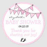 Pink Polka Dot Bunting Baby Shower Thank You Classic Round Sticker