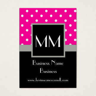 Pink polka dot business card