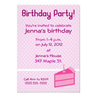 "Pink Polka Dot Cake Birthday Party Invitation 5"" X 7"" Invitation Card"