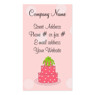 Pink Polka Dot Cake Double-Sided Standard Business Cards (Pack Of 100)