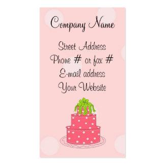 Pink Polka Dot Cake Business Card Template