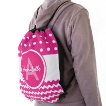 Pink Polka Dot Chevron Drawstring Bag