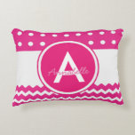 "Pink Polka Dot Chevron Monogram Personalized Accent Pillow<br><div class=""desc"">Pink polka dot chevron accent pillow</div>"