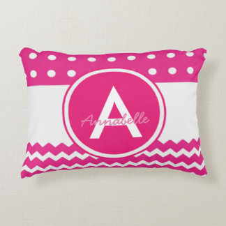 Pink Polka Dot Chevron Monogram Personalized Accent Pillow