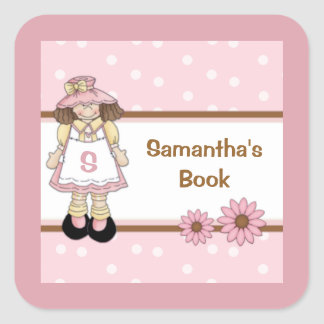 Pink Polka Dot Child s Personalized Bookplate Square Stickers