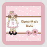 Pink Polka Dot Child's Personalized Bookplate Square Stickers