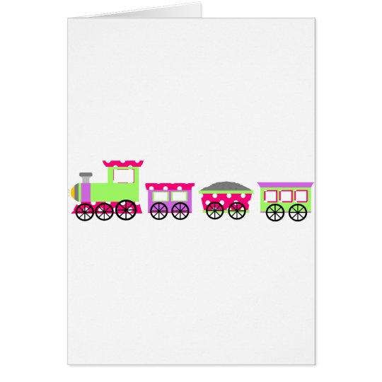 Pink Polka Dot Choo Choo Train Card