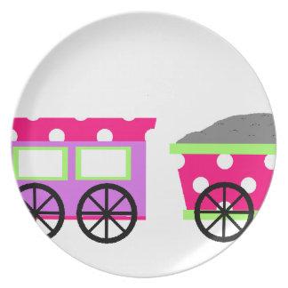 Pink Polka Dot Choo Choo Train Party Plates