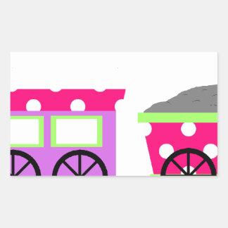 Pink Polka Dot Choo Choo Train Rectangular Sticker