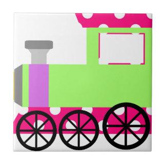 Pink Polka Dot Choo Choo Train Ceramic Tiles
