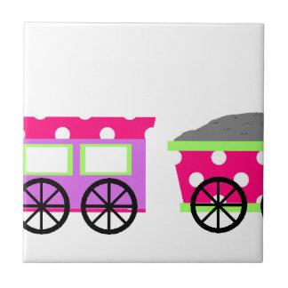 Pink Polka Dot Choo Choo Train Tile