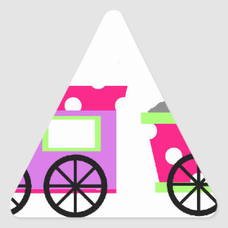 Pink Polka Dot Choo Choo Train Triangle Sticker