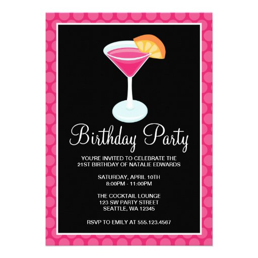 Pink Polka Dot Cocktail Drink 21st Birthday Party 5x7