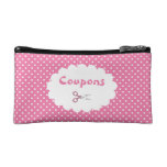 Pink Polka Dot Coupon Organizer Cosmetic Bag