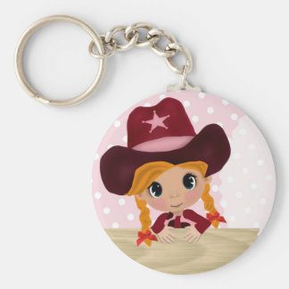 Pink Polka-Dot Cowgirl Basic Round Button Keychain