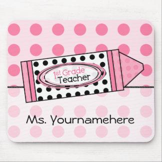 Pink Polka Dot Crayon 1st Grade Teacher Mousepad
