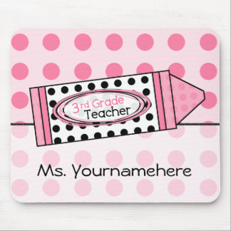 Pink Polka Dot Crayon 3rd Grade Teacher Mousepad