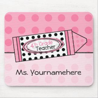 Pink Polka Dot Crayon 4thGrade Teacher Mousepad
