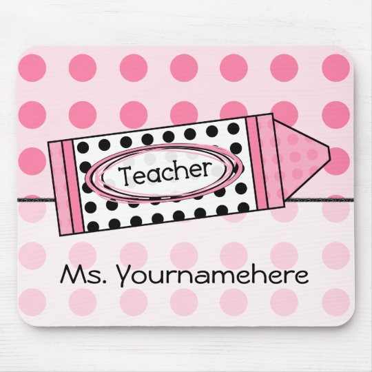 Pink Polka Dot Crayon Teacher Mousepad