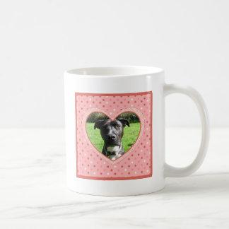 Pink Polka Dot Crosshatch Heart Photo Frame Coffee Mug