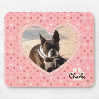 Pink Polka Dot Crosshatch Heart Photo Frame Mouse Pad