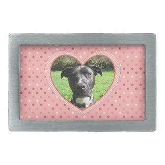 Pink Polka Dot Crosshatch Heart Photo Frame Rectangular Belt Buckle