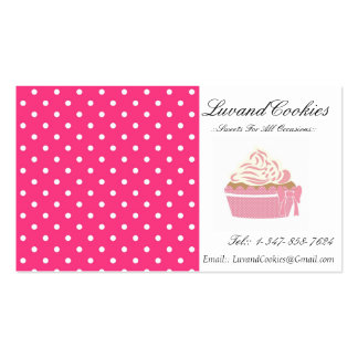Pink Polka-Dot Cupcake Bakery Double-Sided Standard Business Cards (Pack Of 100)