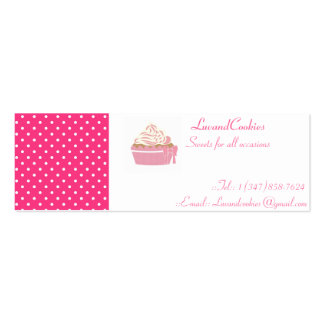 Pink Polka-Dot Cupcakes Double-Sided Mini Business Cards (Pack Of 20)