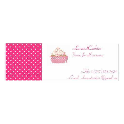 Pink Polka Dot Cupcakes Mini Business Card