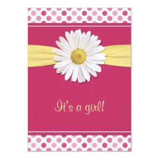 Pink Polka Dot Daisy Baby Shower Invitation