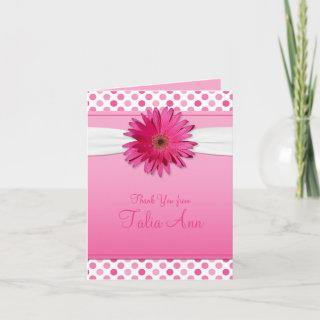 Pink Polka Dot Daisy Bat Mitzvah Thank You Card