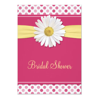 Pink Polka Dot Daisy Bridal Shower Invitation
