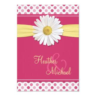 Pink Polka Dot Daisy Wedding Invitation