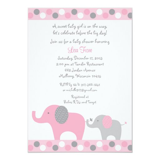 Pink Polka Dot Elephant Baby Shower Card