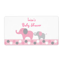 Pink Polka Dot Elephant Baby Shower Favor Label