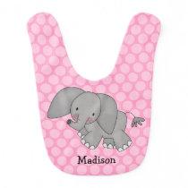Pink Polka Dot Elephant Personalized Baby Bib