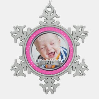 Pink Polka Dot Family Photo Snowflake Pewter Christmas Ornament