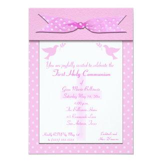 Pink Polka Dot First Holy Communion Invitation