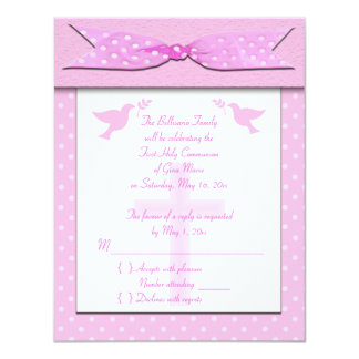 "Pink Polka Dot First Holy Communion RSVP Card 4.25"" X 5.5"" Invitation Card"