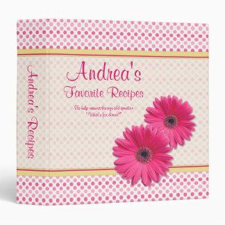 Pink Polka Dot Gerber Daisy Recipe Binder